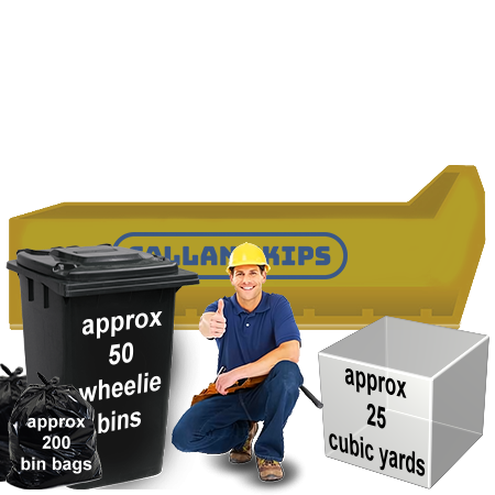 skip hire 25 yard roll-on roll-off capacity